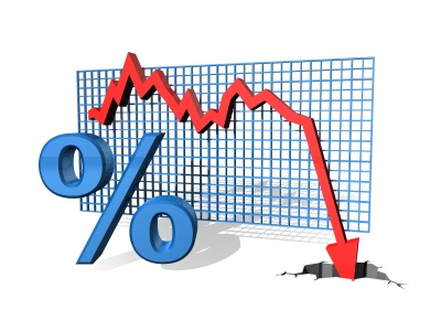 Illustration of a graph showing decreasing percentage