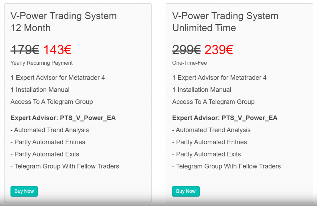 Perfect Trend System Robot pricing