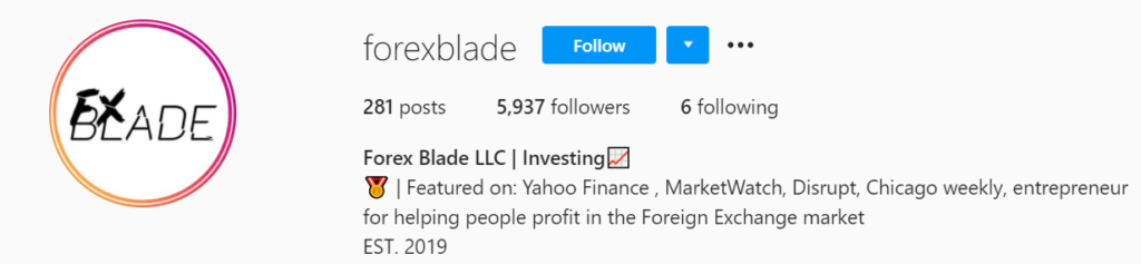 Forex Blade LLC Instagram account