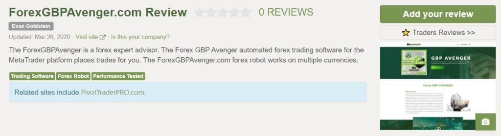 Forex GBP Avenger People feedback