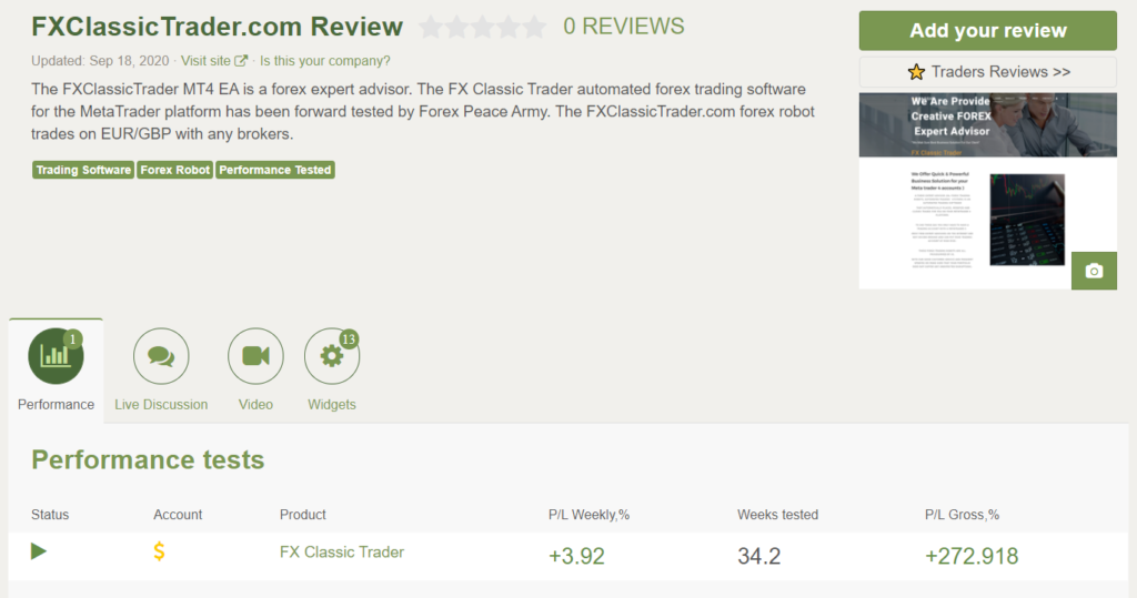 FX Classic Trader FX Classic Trader People feedback