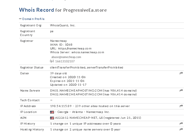 Progressive EA website location