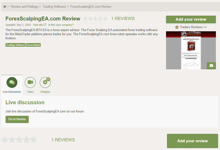 Forex Scalping EA People feedback
