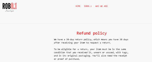 R0B01 Expert Advisor. 30 days money-back guarantee