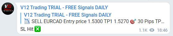 V12 Trading Trading results