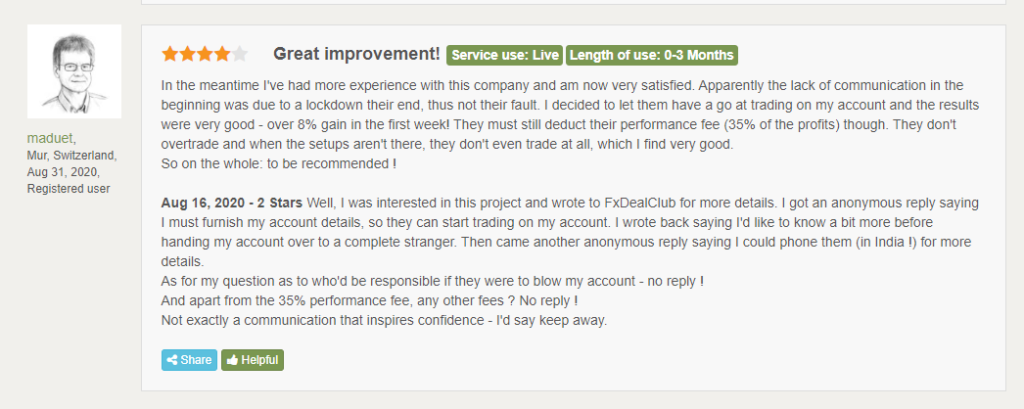 FXDC Hedger EA People feedback