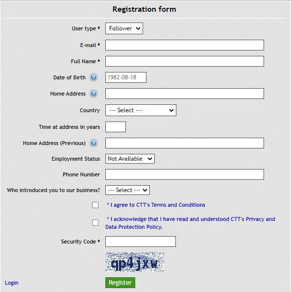 Sirius EA - registration form