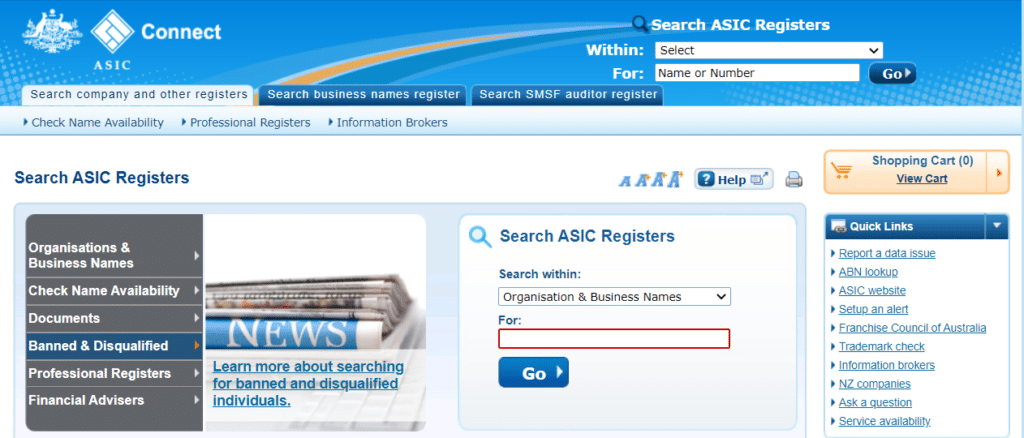 The illustration shows how to search for their registration status on ASIC's website.