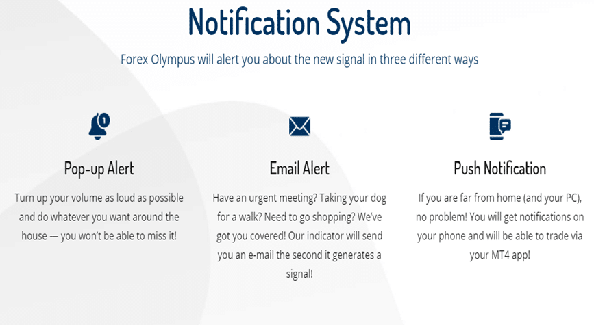 Forex Olympus notification system