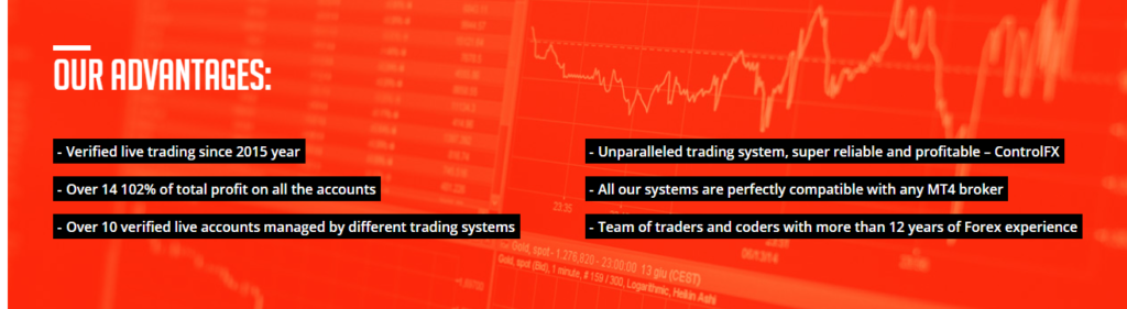 The dev lists benefits to trade with Control Forex