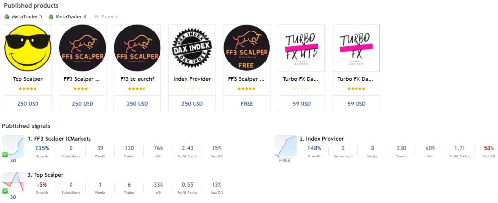 Top Scalper. There are seven products in the developer's portfolio
