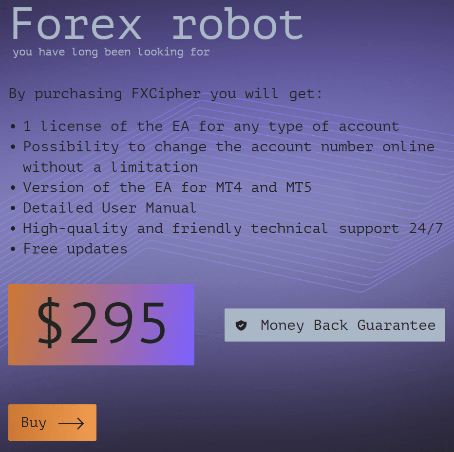 Pricing for FXCIPHER.