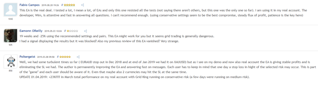 User reviews for Grid King on MQL5.