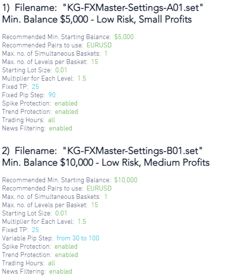 Killa Gorilla FX Master trading settings.