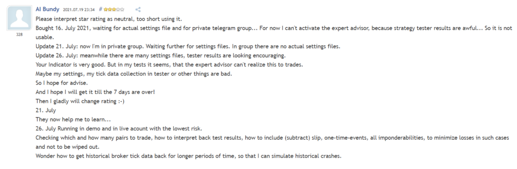 User review on MQL5.