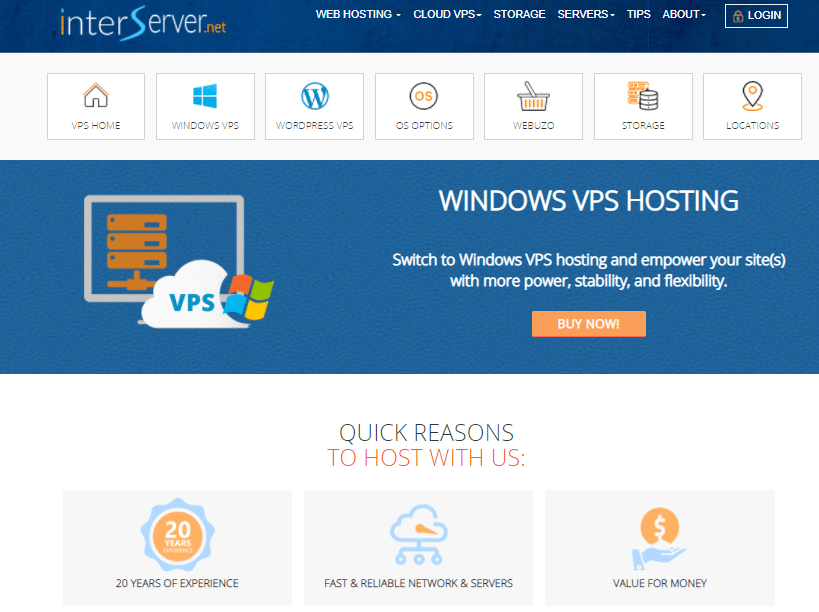 Home page of InterServer VPS