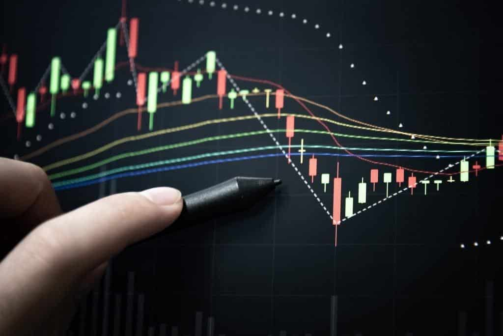 Image of a candlestick chart next to a pen