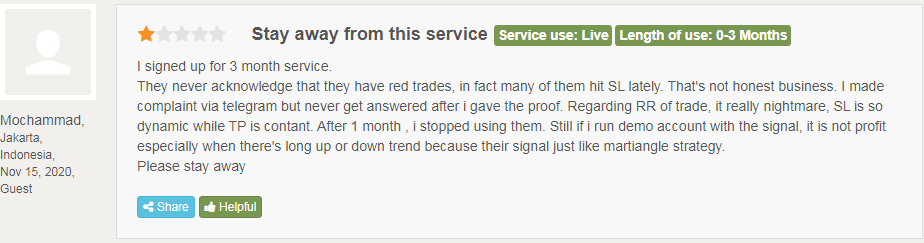 Client advising people to stay away from M15 Signals.