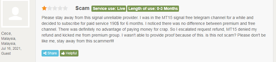 Client saying M15 Signals is a scam.
