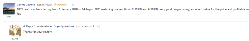 User review for Silent Master on MQL5.