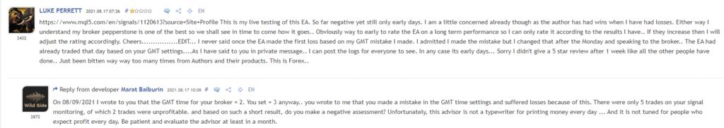 Customer testimonials on MQL5.